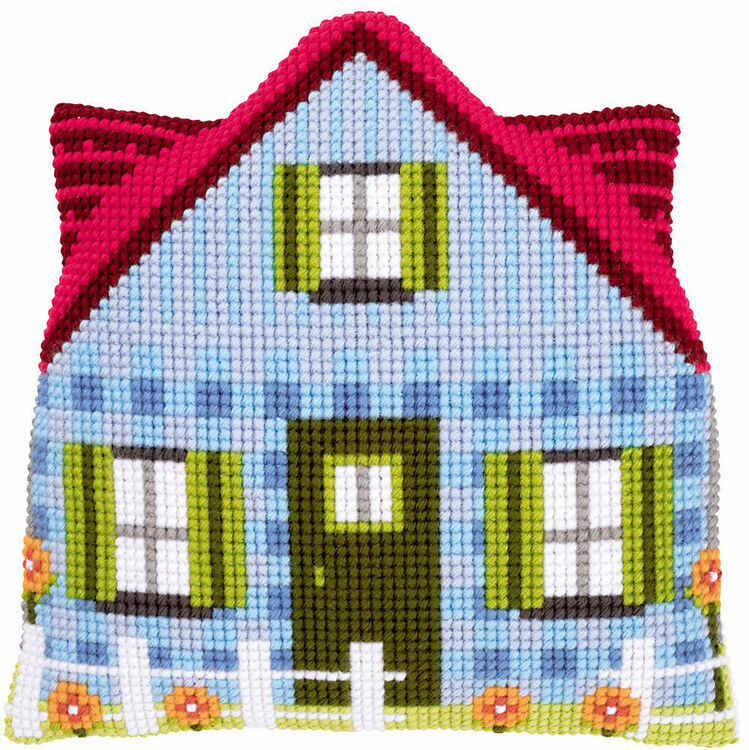 Blue House Shaped Cushion Cover Cross Stitch Kit
