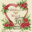 Golden 50th Wedding Anniversary Heart Cross Stitch Kit additional 1