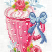 Pink Latte Cup & Flowers Cross Stitch Kit additional 1
