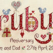 Ruby Wedding Anniversary Word Sampler Cross Stitch Kit additional 4