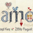 Diamond Wedding Anniversary Word Cross Stitch Sampler Kit additional 1