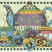 Teatime Pansies Cross Stitch Kit additional 1