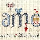 Diamond Wedding Anniversary Word Cross Stitch Sampler Kit additional 1