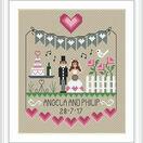 Pink Hearts Wedding Sampler Cross Stitch Kit additional 2