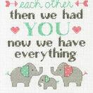 Elephant Family Cross Stitch Birth Record Kit additional 1