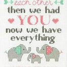 Elephant Family Cross Stitch Birth Record Kit additional 2