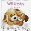 Cuddling Dogs Cross Stitch Birth Record Kit additional 1