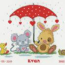 Under The Umbrella Birth Sampler Cross Stitch Kit additional 1