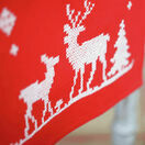Christmas Reindeer On Red Embroidery Table Runner Kit additional 2
