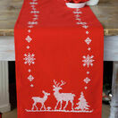 Christmas Reindeer On Red Embroidery Table Runner Kit additional 1
