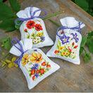 Summer Flowers Set Of 3 Pot-Pourri Bag Cross Stitch Kits additional 2