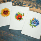 Summer Flowers Set Of 3 Greetings Card Cross Stitch Kits additional 2