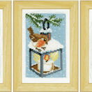 Robins In Winter Miniatures Set Of 3 Cross Stitch Kits - Includes frames additional 1