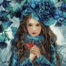 Blue Flowers Girl Cross Stitch Kit additional 1