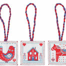 Red & Blue Nordic Christmas Decorations Cross Stitch Kit additional 1