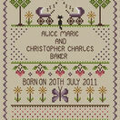 Welcome To Twins Cross Stitch Birth Sampler Kit additional 1