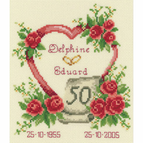 Golden 50th Wedding Anniversary Heart Cross Stitch Kit