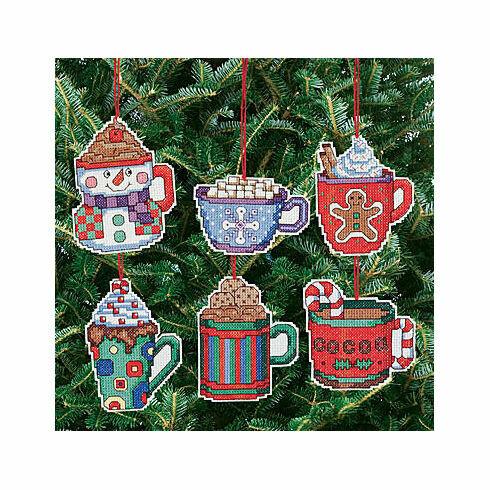 Christmas Cocoa Mug Ornaments Cross Stitch Kit (Set of 6)