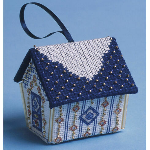 Blue & Gold Gingerbread House 3D Cross Stitch Kit