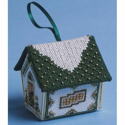 Green & Gold Gingerbread House 3D Cross Stitch Kit