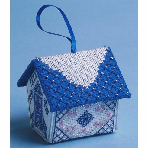 Blue & Silver Gingerbread House 3D Cross Stitch Kit
