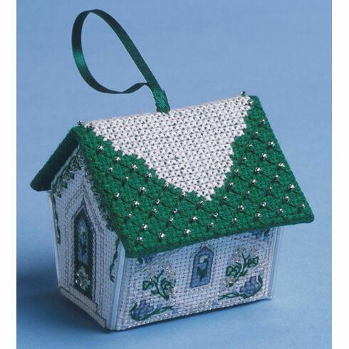 Green & Silver Gingerbread House 3D Cross Stitch Kit