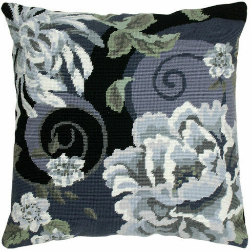 Floral Swirl In Black Tapestry Cushion Panel Kit