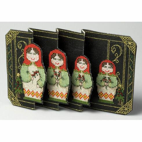 Christmas Babushka Deluxe Card 3D Cross Stitch Kit