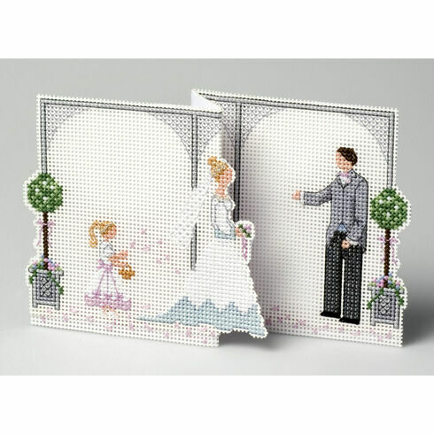 Bride & Groom Deluxe Wedding Card 3D Cross Stitch Kit
