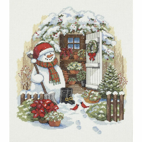 Garden Shed Snowman Cross Stitch Kit