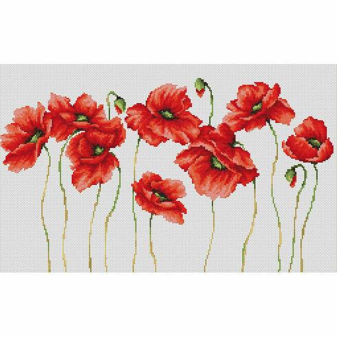 Eleven Poppies Cross Stitch Kit