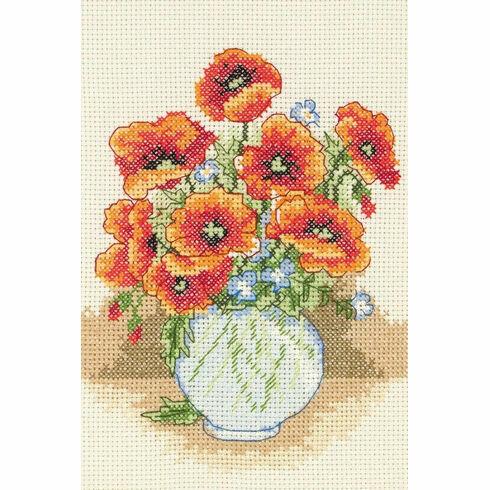 Poppy Flower Vase Starter Cross Stitch Kit