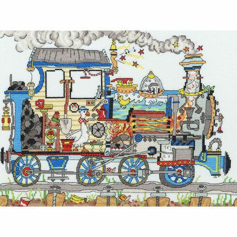 Cut Thru' Steam Train Cross Stitch Kit