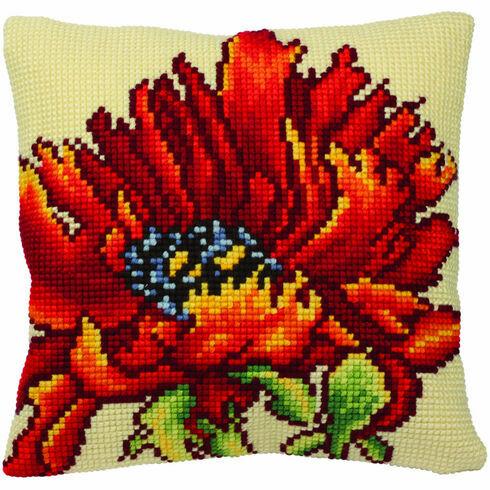 Delicious Poppy Cushion Panel Cross Stitch Kit