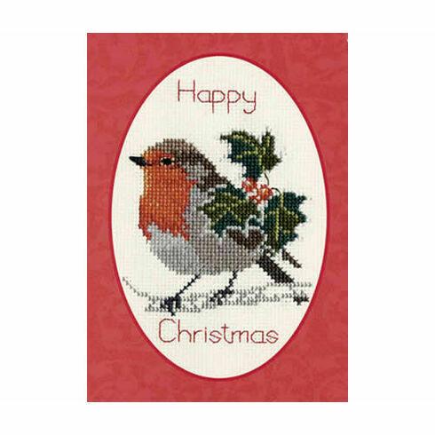 Holly & Robin Christmas Cross Stitch Card Kit