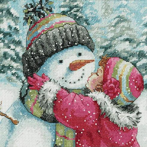 A Kiss For Snowman Cross Stitch Kit