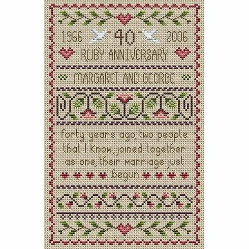 Ruby Wedding Anniversary Cross Stitch Kit