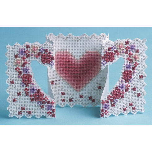 Heart & Flowers 3D Cross Stitch Card Kit