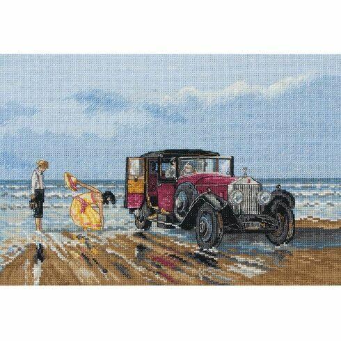 Vintage Rolls On The Beach Cross Stitch Kit