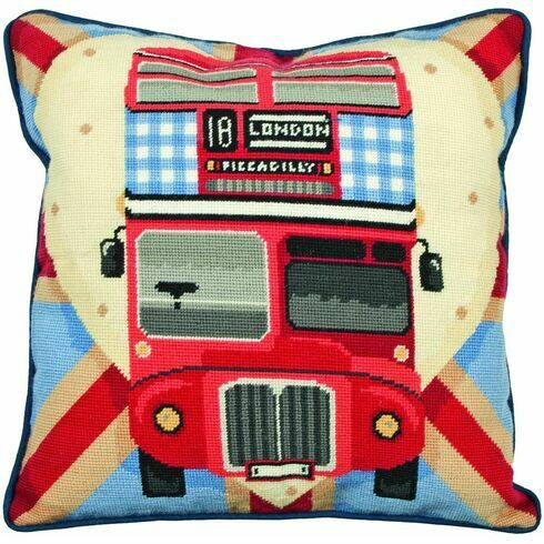 Red Bus On Union Jack Tapestry Cushion Panel Kit