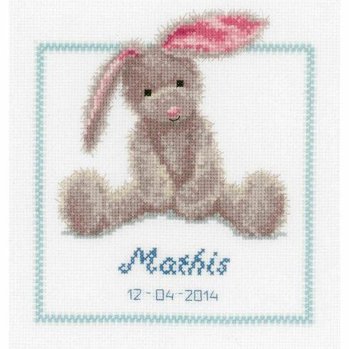 Cute Bunny Birth Sampler Cross Stitch Kit