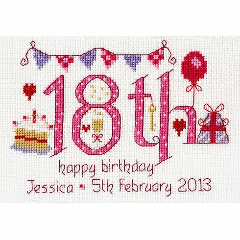 18th Birthday Pink Cross Stitch Kit