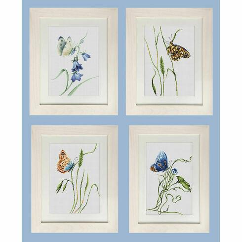Set Of 4 Butterfly Cross Stitch Kits
