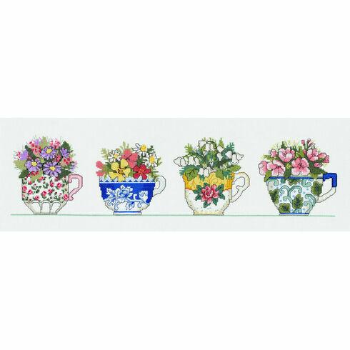 Row Of Tea Cups Cross Stitch Kit