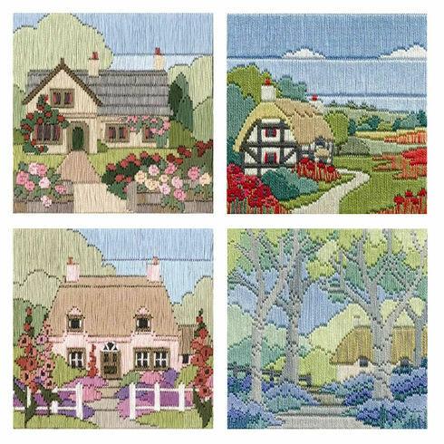 Set Of 4 Cottage Long Stitch Kits