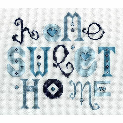 Home Sweet Home Blue Cross Stitch Kit