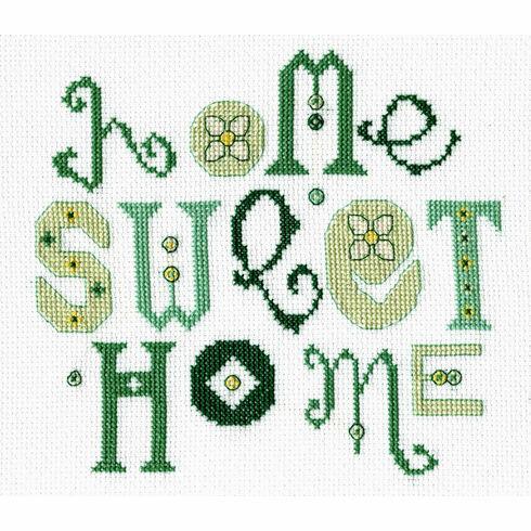 Home Sweet Home Green Cross Stitch Kit