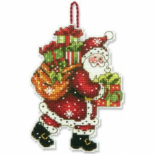 Santa With Bag Ornament Cross Stitch Kit