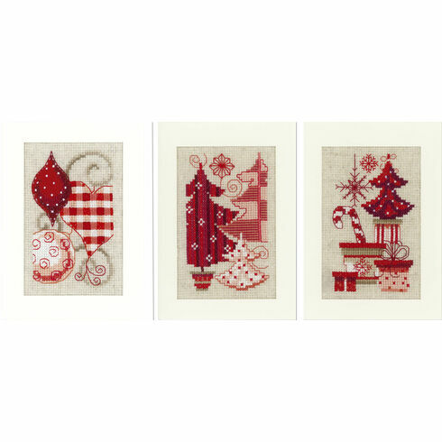 Christmas Motif Cross Stitch Card Kits - Set Of 3