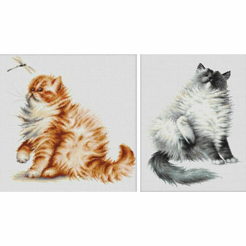 Mickey Cat & Kitten With Dragonfly - Set Of 2 Cross Stitch Kits